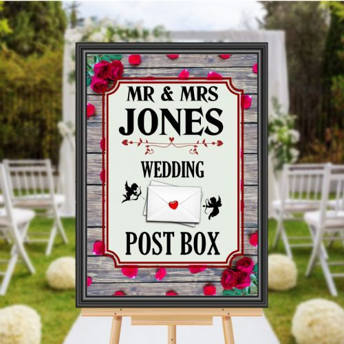 Personalised Wedding Money & Cards Post Box Sign Poster Banner - Print N170